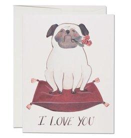 Red Cap Cards Pug Love A2 Notecard