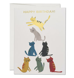 Red Cap Cards Gold Kitty Birthday A2 Notecard