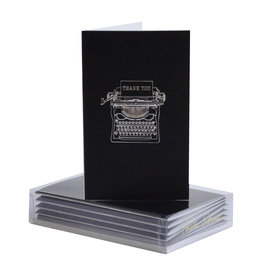 Paula Skene Designs Black Typewriter Thank You 4Bar Notecards Box of 8