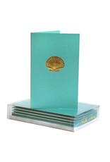 Paula Skene Designs Teal Scallop Shell Mini Cards 4Bar Box of 8