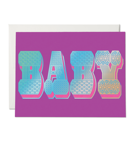 Red Cap Cards Baby Typography Notecard