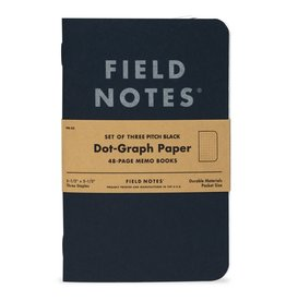 Field Notes Brand Pitch Black Dot Graph Memo Book 3-Pack