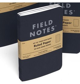 Field Notes Brand Field Notes Pitch Black Ruled Memo Book 3-Pack