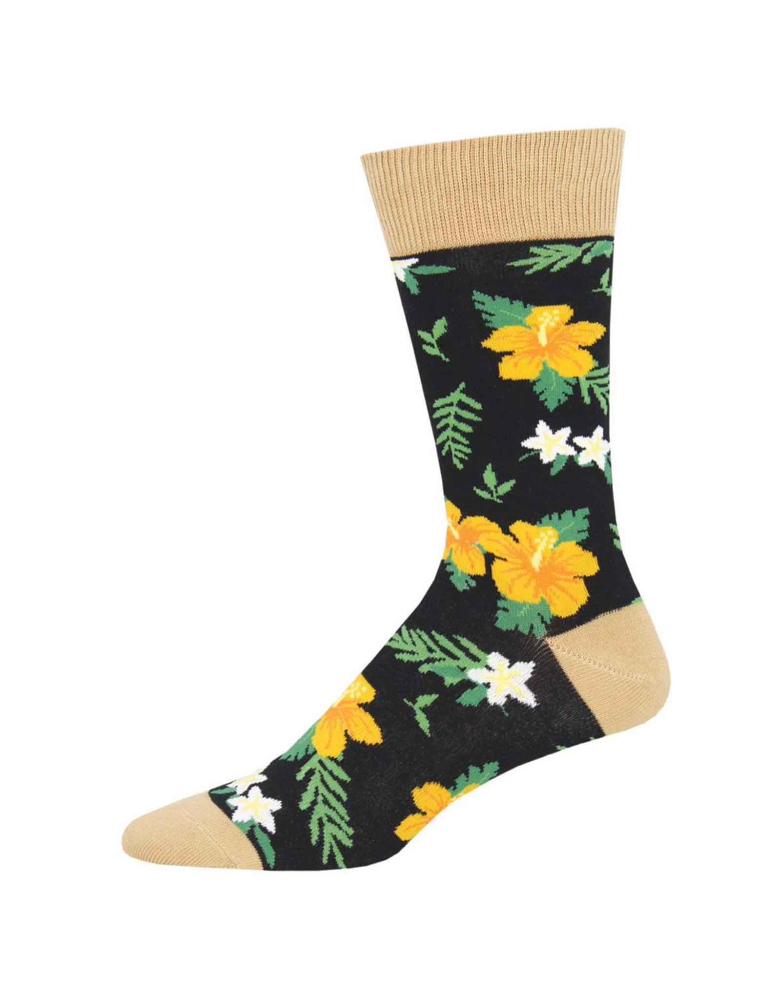 Socksmith Design Aloha Floral Black Men's Socks