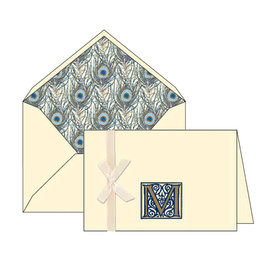 Rossi M Initial Cards Box of 10 with Lined Envelopes