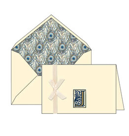 Rossi J Initial Cards Box of 10 with Lined Envelopes