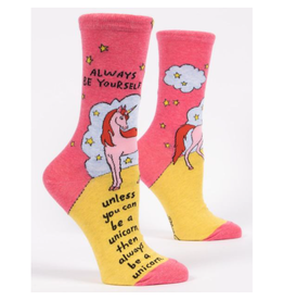 Blue Q Always Be Yourself Unless You Can Be a Unicorn Women's Crew Socks