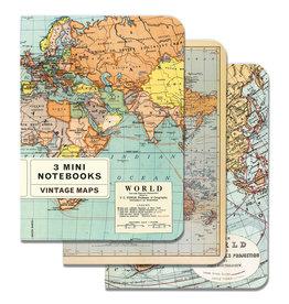 Cavallini Papers & Co. Vintage Maps 3 Mini Notebooks