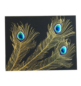 Paula Skene Designs Black Peacock Trio A2 Card
