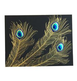 Paula Skene Designs Black Peacock Trio A2 Notecard