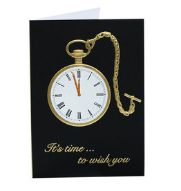 Paula Skene Designs Black Pocket Watch A7 Birthday Card