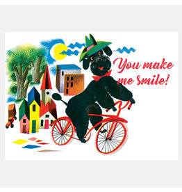 Laughing Elephant Poodle on a Bicycle Notecard A7 Friendship