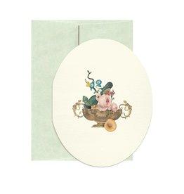 Open Sea Design Co. Gold Vanitas A2 Oval Everyday Notecard