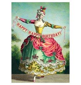 Cartolina Happy Happy Birthday! Lady With Banner A7 Notecard