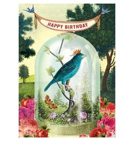 Cartolina Happy Birthday Bird with Crown A7 Notecard