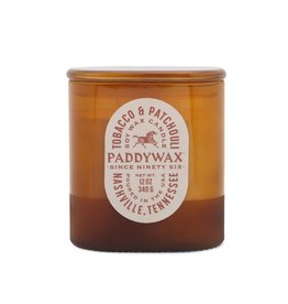 Paddywax Tobacco & Patchouli Vista 12oz Amber Glass Candle