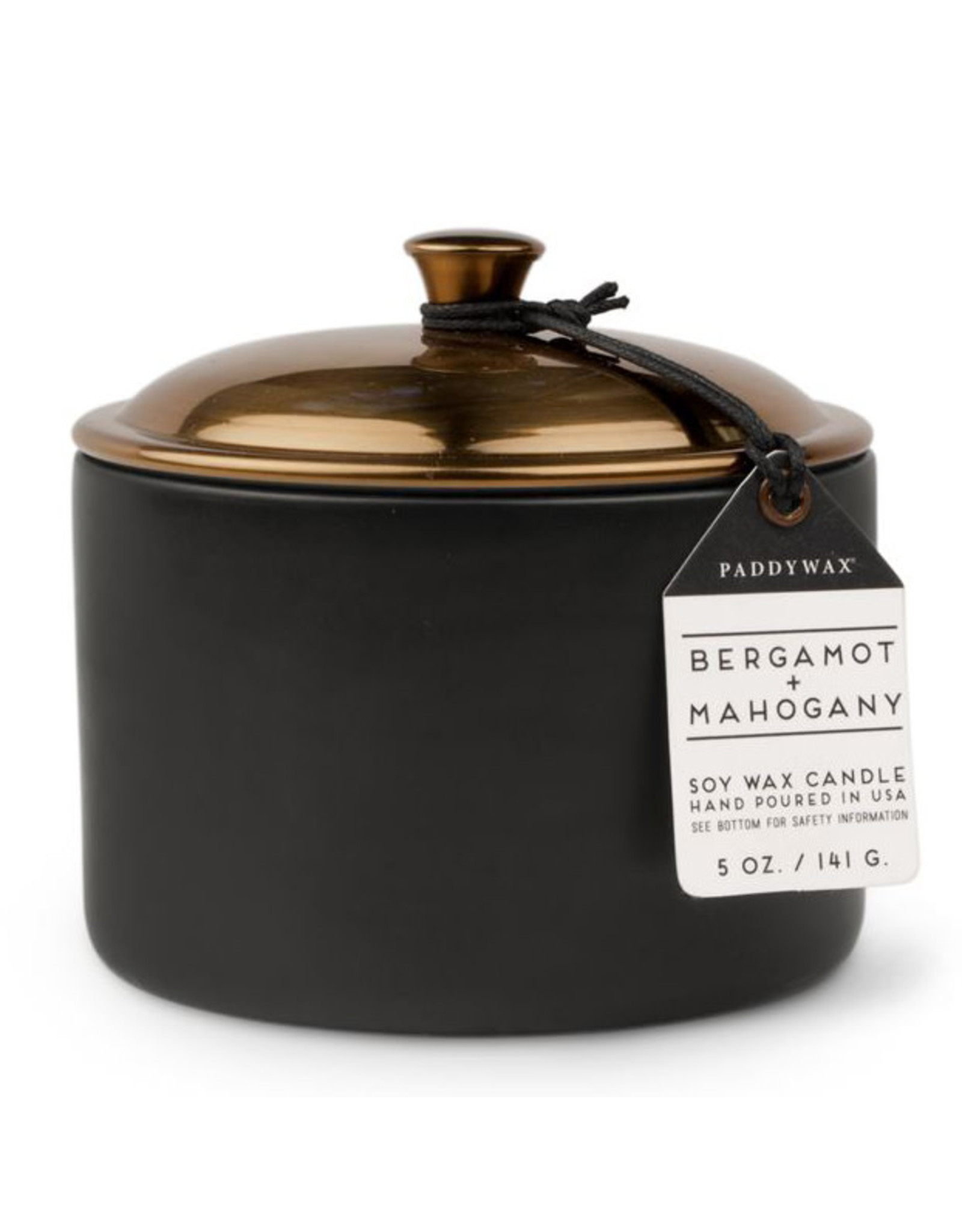 Paddywax Bergamot + Mahogany Hygge 5oz Black Ceramic Candle