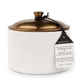 Paddywax Tobacco + Vanilla Hygge 5oz White Ceramic Candle