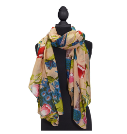 2 Chic Poppies and Peacocks Sand Scarf