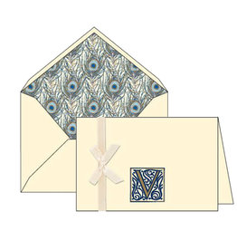Rossi V Initial Cards Box of 10 with Lined Envelopes