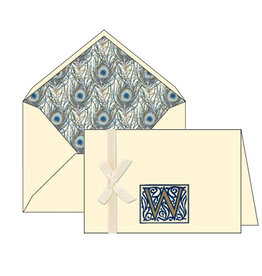 Rossi W Initial Cards Box of 10 with Lined Envelopes