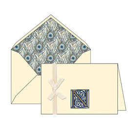 Rossi N Initial Cards Box of 10 with Lined Envelopes