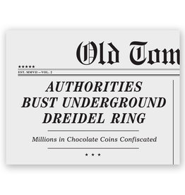 Old Tom Foolery Headlines Underground Dreidel Ring Hanukkah A2 Notecard