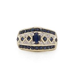 14K Gold/Sapphires/Diamond Chips Ring
