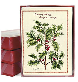 Cavallini Papers & Co. Holly Boxed Glitter Notecards