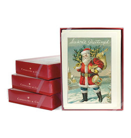 Cavallini Papers & Co. Santa Claus Christmas Glitter Greeting Boxed Notecards