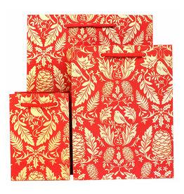 LoveVivid Medium Holiday Gift Bag Ruskin Red