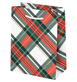 Waste Not Paper Small Holiday Plaid with Foil Bag