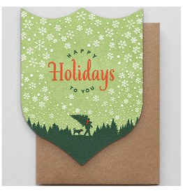 Hammerpress Happy Holiday Timber Badge A2 Christmas Notecard