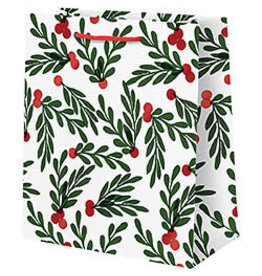 Waste Not Paper Medium Red Berries with Leaves Christmas Bag