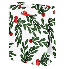 Waste Not Paper Small Red Berries with Leaves Christmas Bag