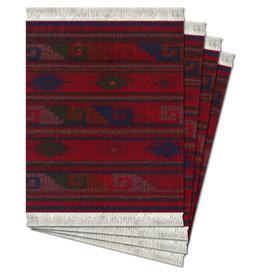 FiberLok Technologies, Inc. Deep Red Zapotec Coaster Rug Set