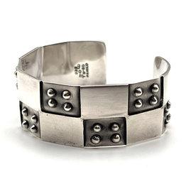 Sterling Alternating Dots Cuff Bracelet