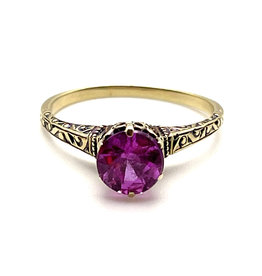 14K Pink Sapphire Ring with Decorative Setting Size 7½