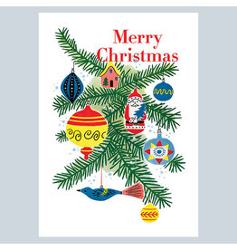 Laughing Elephant Christmas Ornaments A7 Notecard