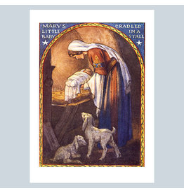 Laughing Elephant Mary Laying Jesus in the Manger A7 Christmas Notecard