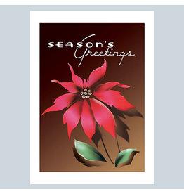 Laughing Elephant Season's Greetings Poinsettia A7 Christmas Notecard