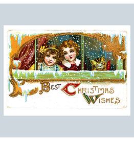 Laughing Elephant Two Girls and Their Cat at a Snowy Window A7 Christmas Notecard