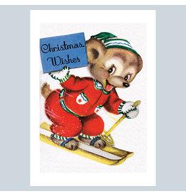 Laughing Elephant Smiling Bear Skiing A7 Christmas Notecard