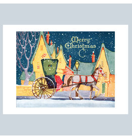 Laughing Elephant Carriage A7 Christmas Notecard
