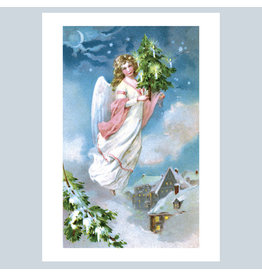 Laughing Elephant Angel Flying with a  Small Christmas Tree A7 Notecard