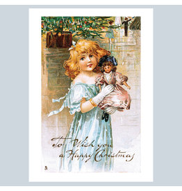 Laughing Elephant Victorian Girl with Doll A7 Christmas Notecard