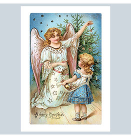 Laughing Elephant A Girl with a Christmas Angel A7 Christmas Notecard