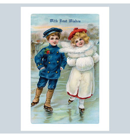 Laughing Elephant A Boy and a Girl Skating - Best Wishes at Christmas A7 Notecard