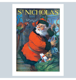 Laughing Elephant Santa Claus and Parrot A7 Christmas Notecard