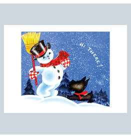 Laughing Elephant Snowman and a Scottie Dog A7 Christmas Notecard